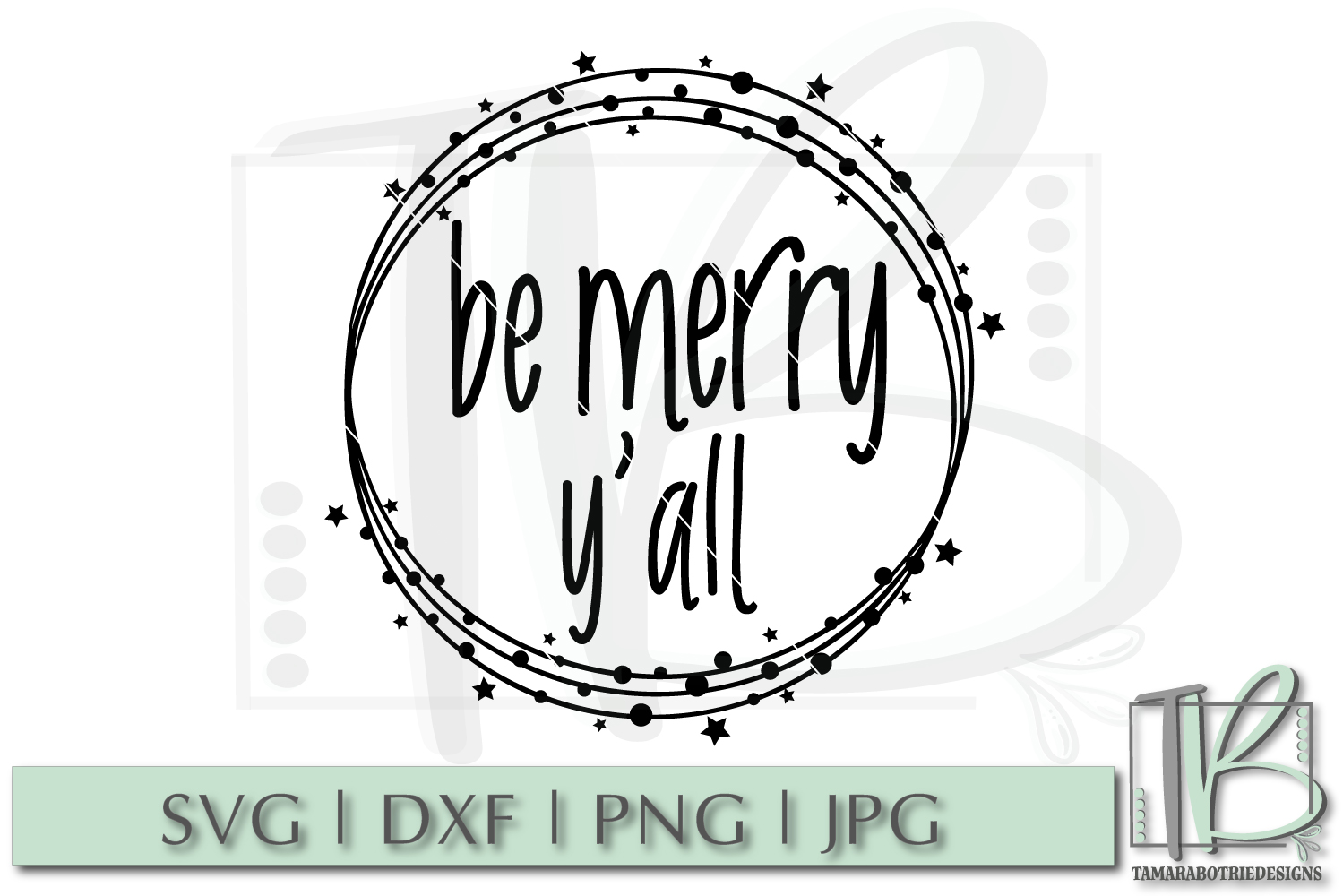 Be Merry Y'all SVG, Christmas Cut File example image 2