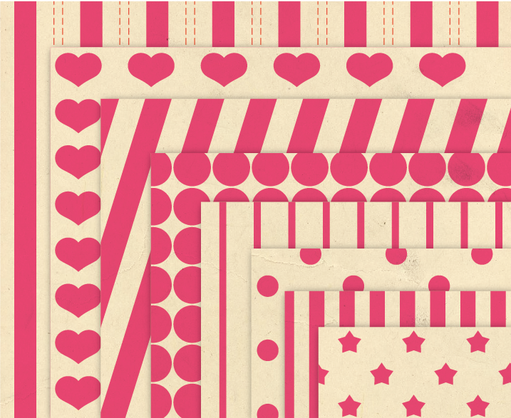 Vintage Background Patterns in Pink Digital Paper Pack with Stripes, Dots, Stars and Hearts example image 2