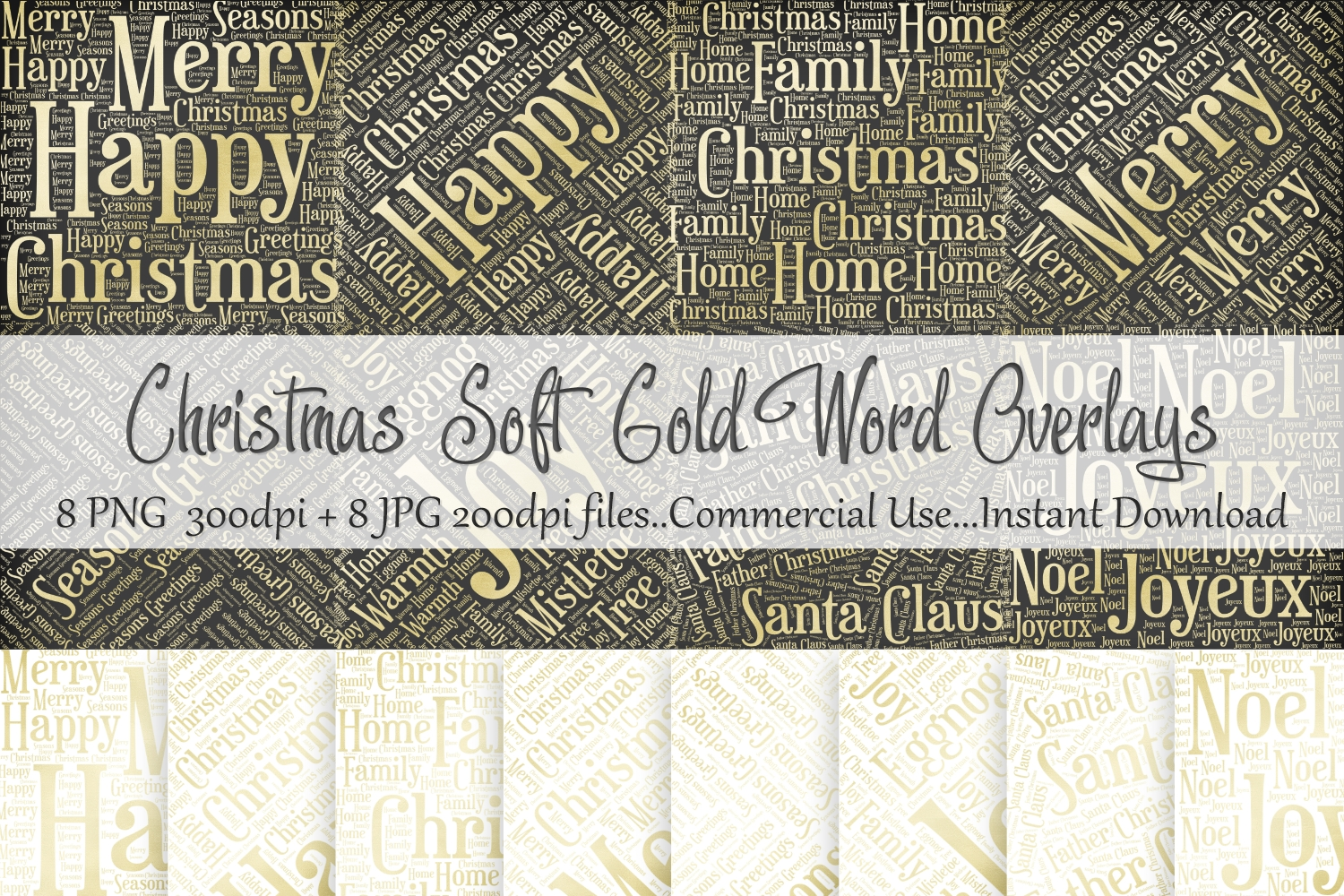 Christmas Soft Gold Word Overlays example image 1