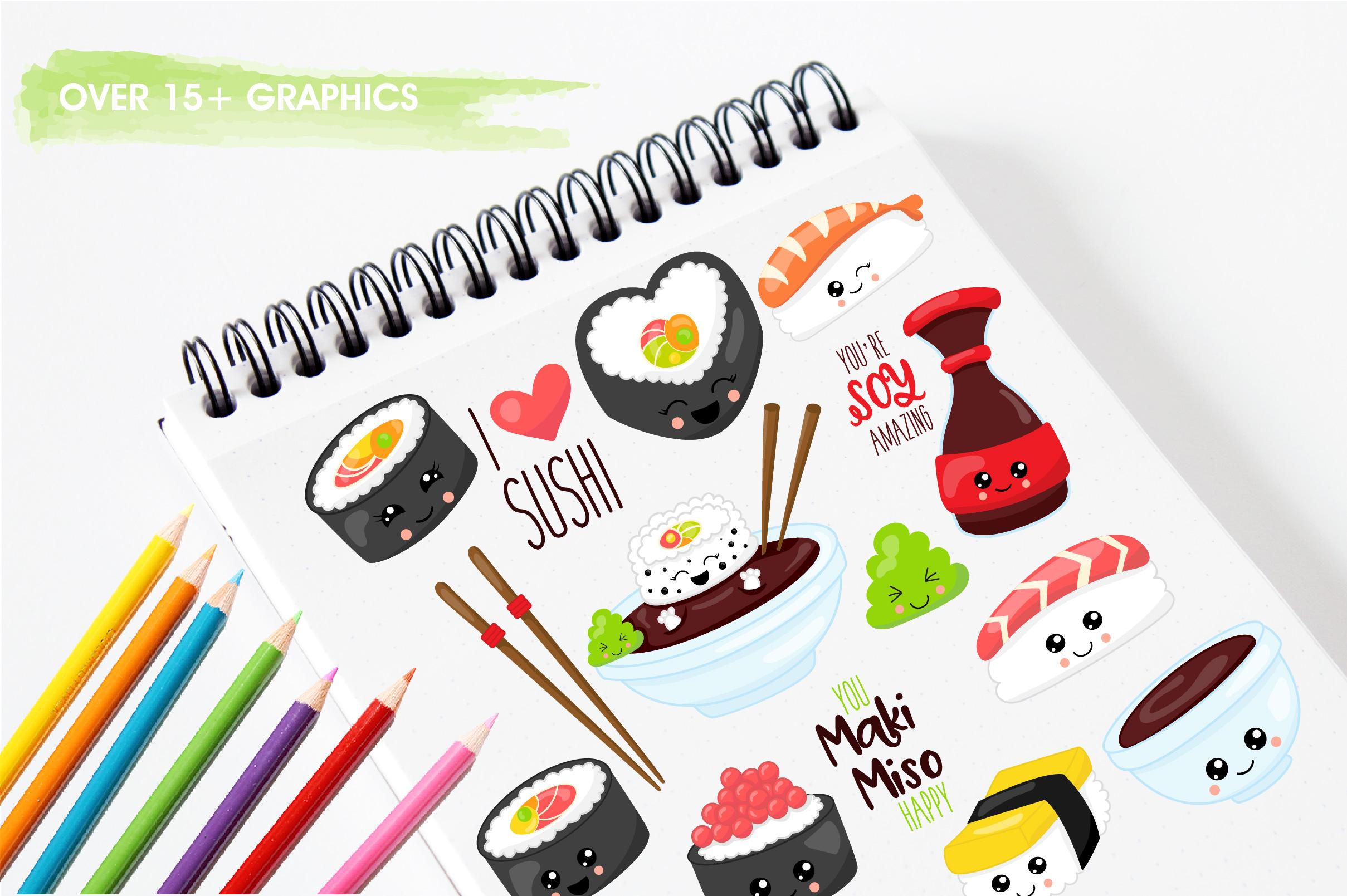 Kawaii sushi graphics and illustrations example image 3