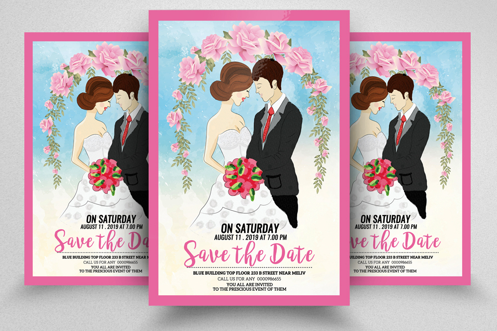 Save The Date Wedding Flyer Template example image 1