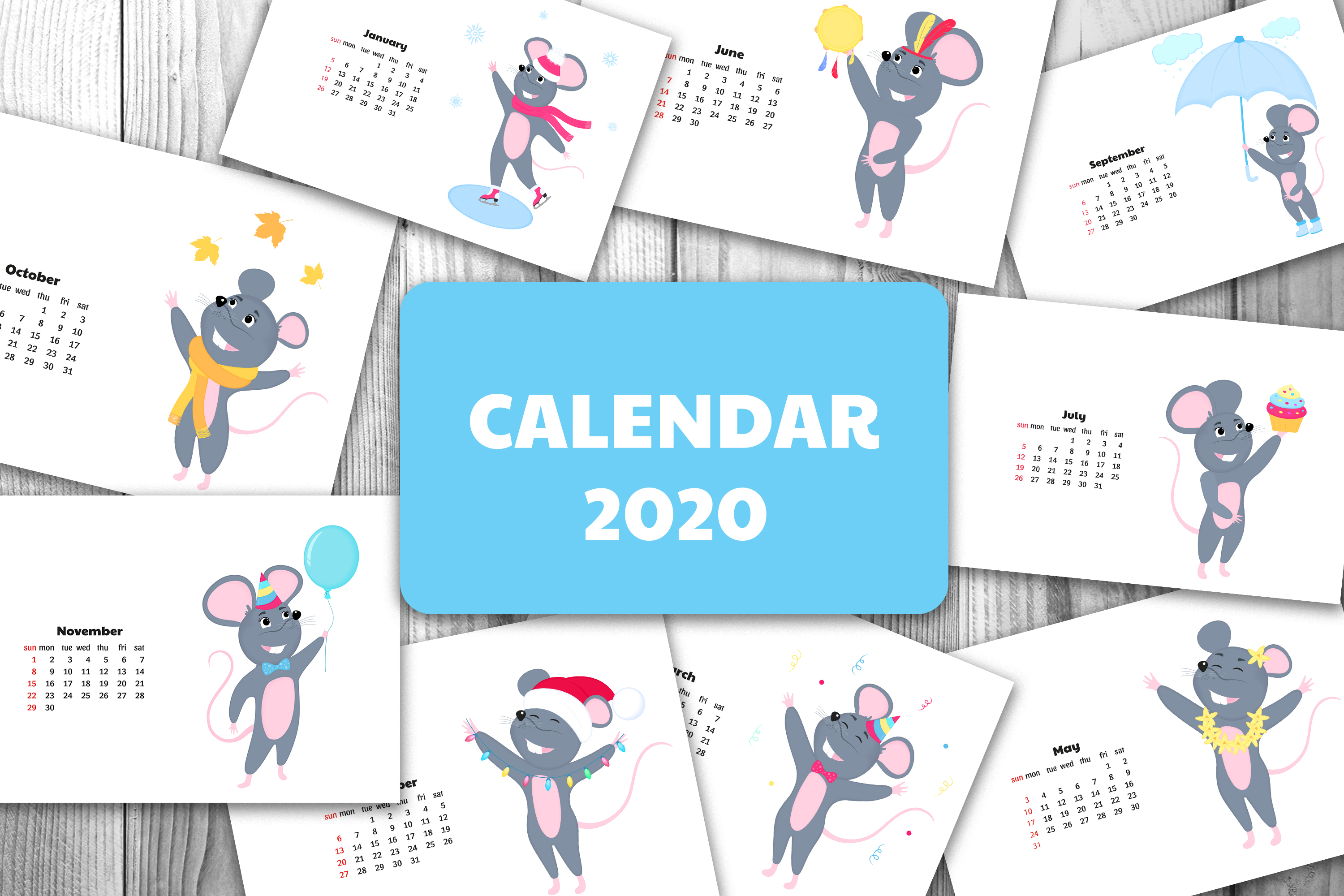 Funny mouse. Cute rats. Wall and desk calendars for 2020 example image 1