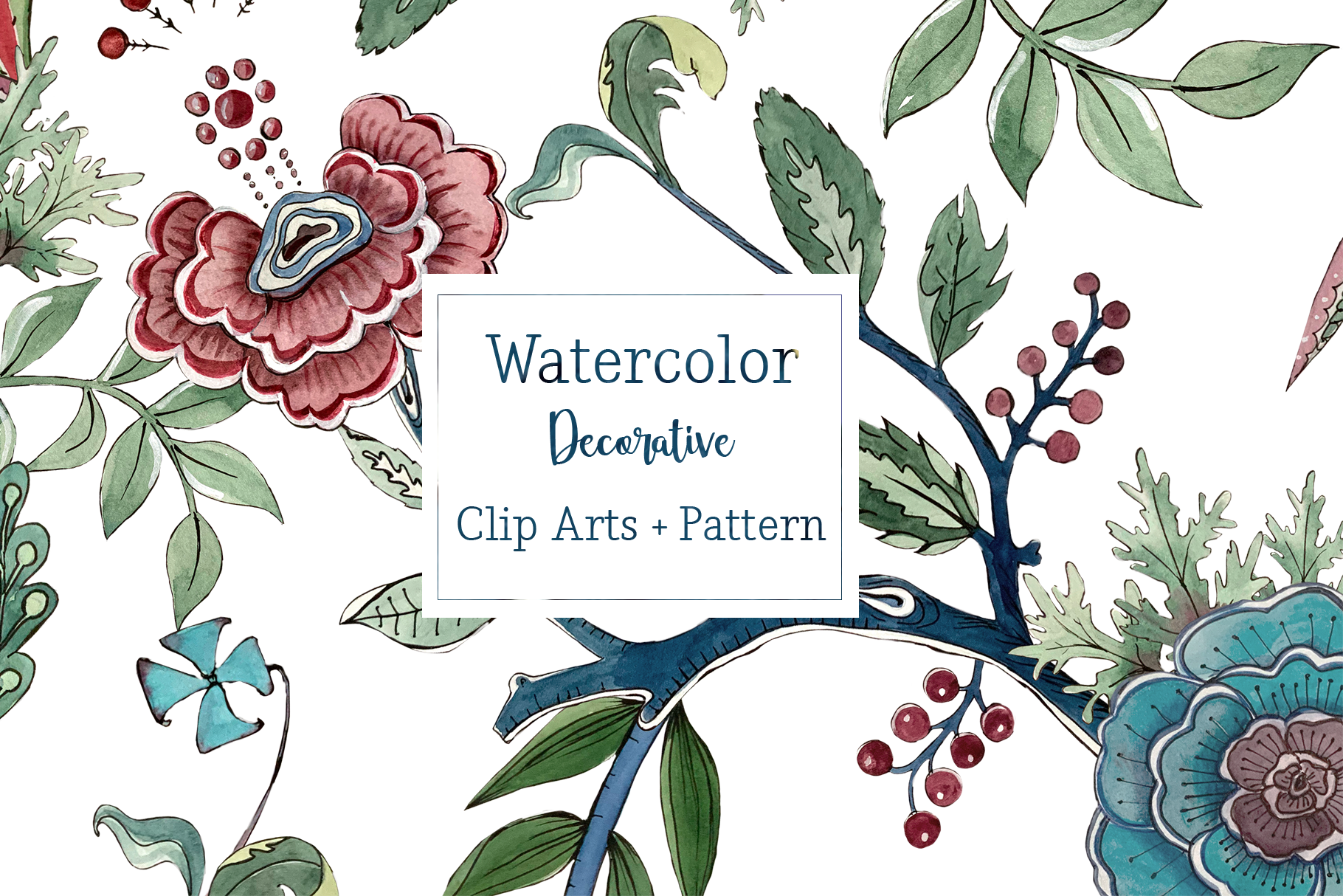 Watercolor Decorative Clip Art Set & Pattern example image 1