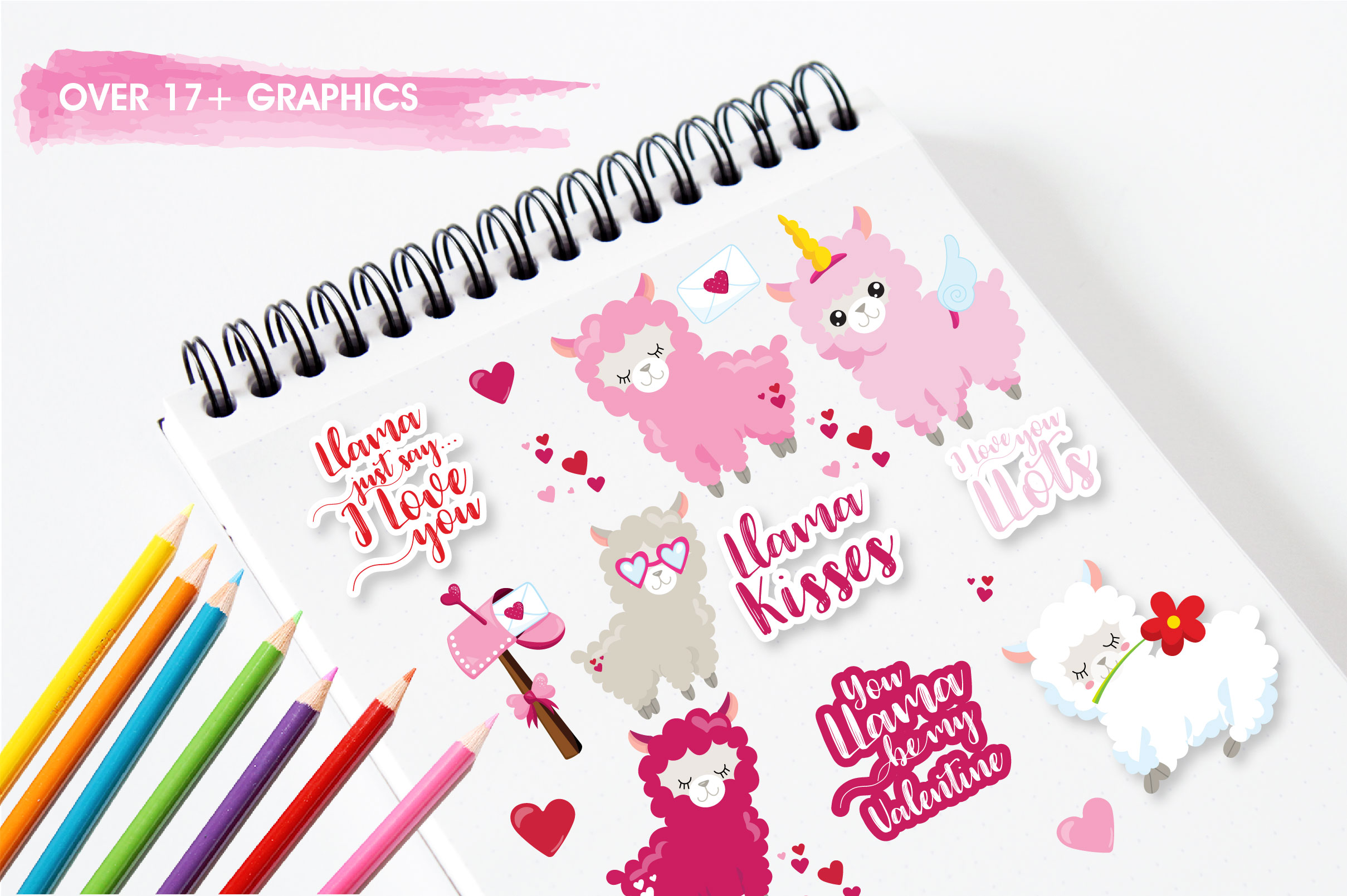 Valentine llamas graphics and illustrations example image 5