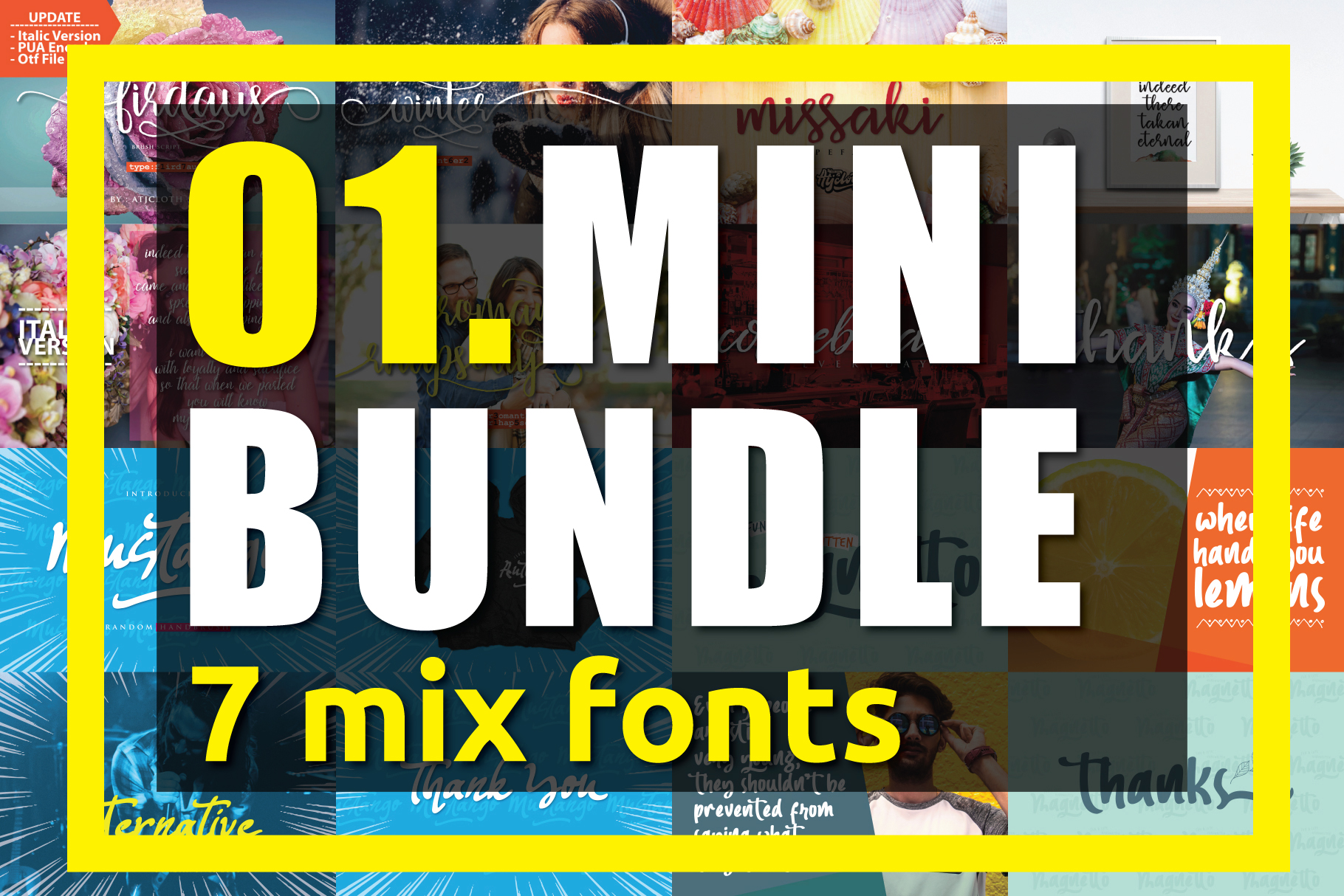 01. MINI BUNDLE - 7 mix fonts example image 1