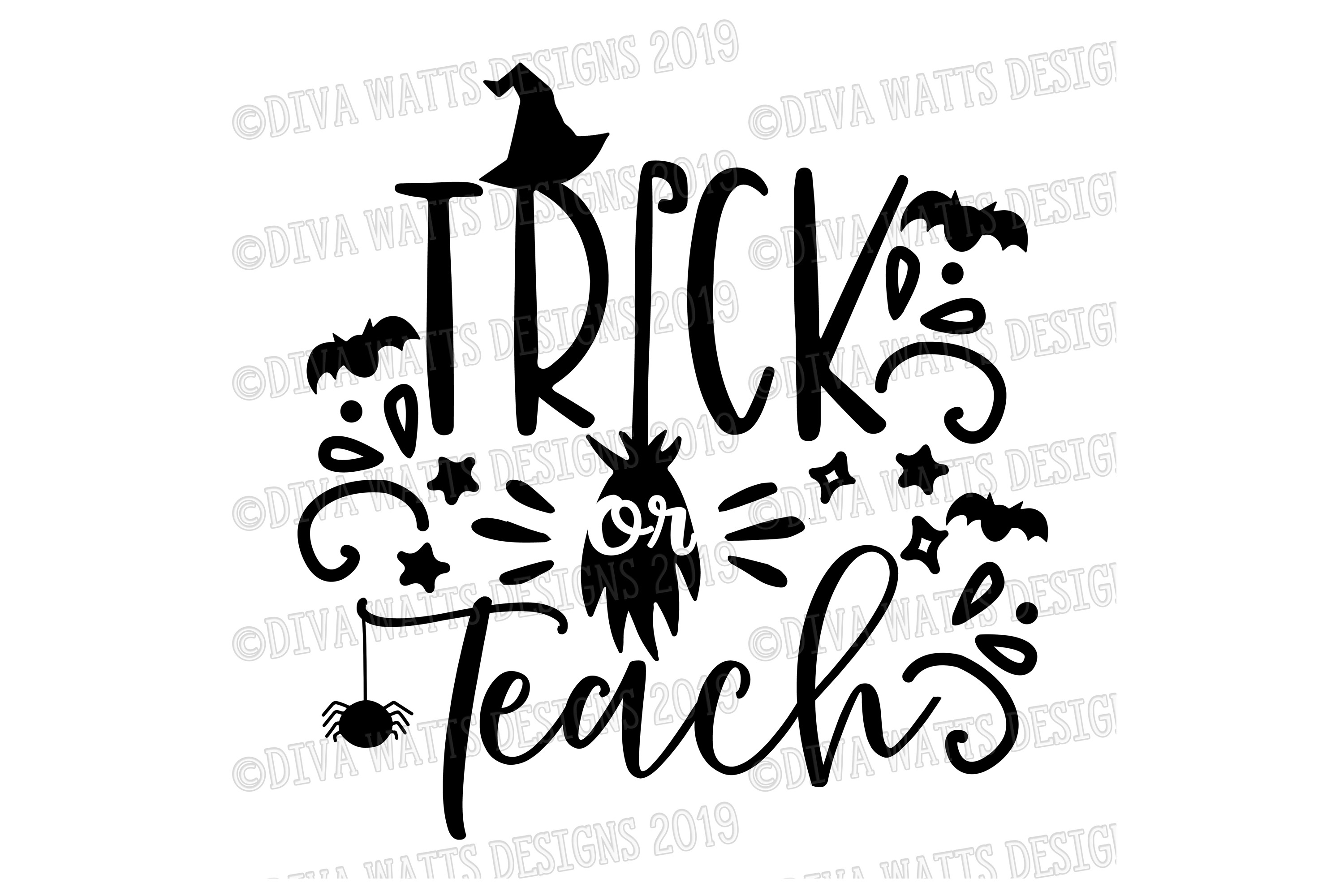 Trick or Teach Halloween Cutting File for Shirt or Sign example image 2