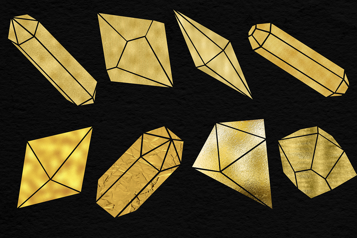 Shimmer Gold Crystals Clipart example image 2