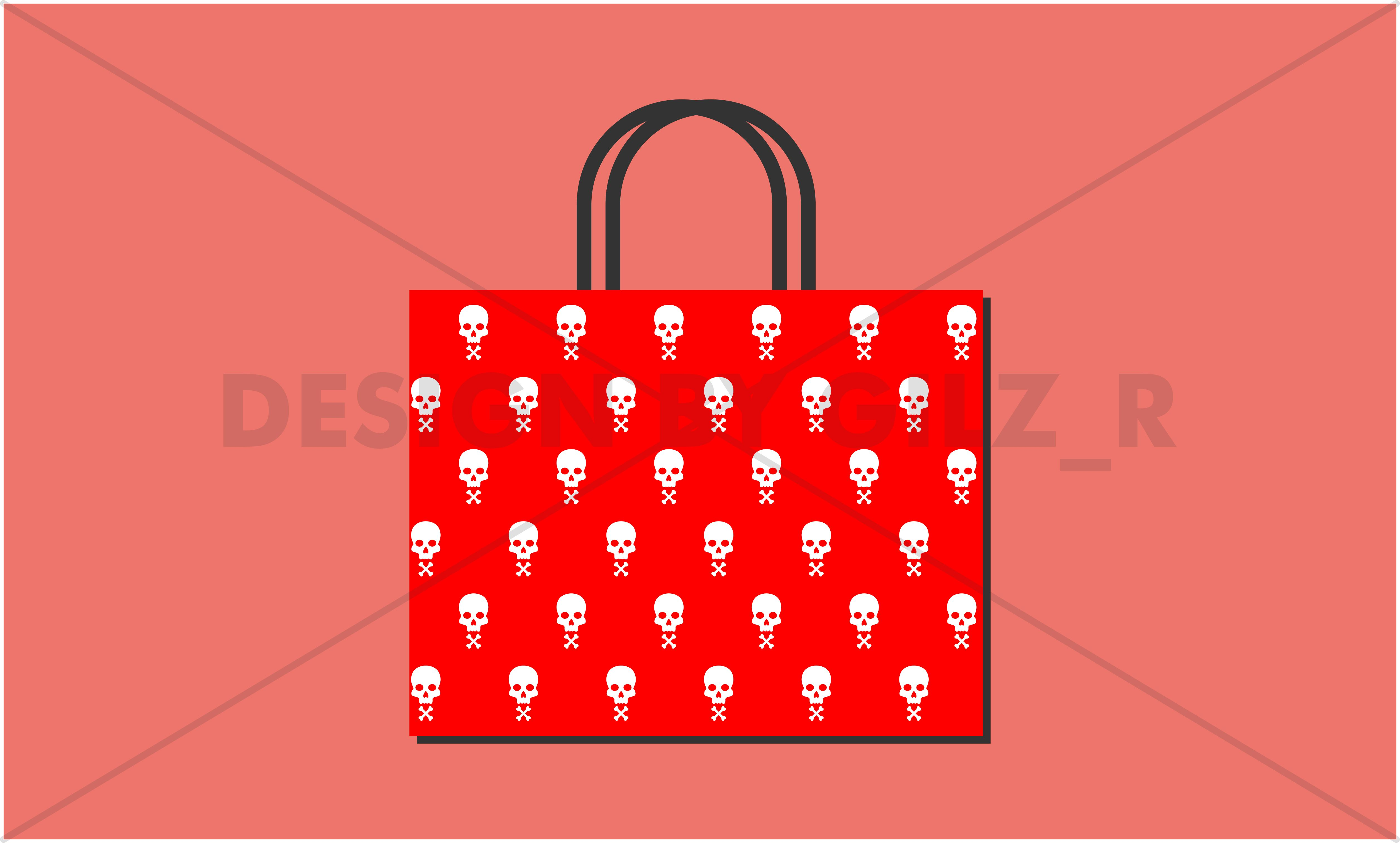 Seamless Simple Skull Pattern Background for Wallpaper, Bed Cover, Pillow Case, T-Shirt, Bag Design example image 4