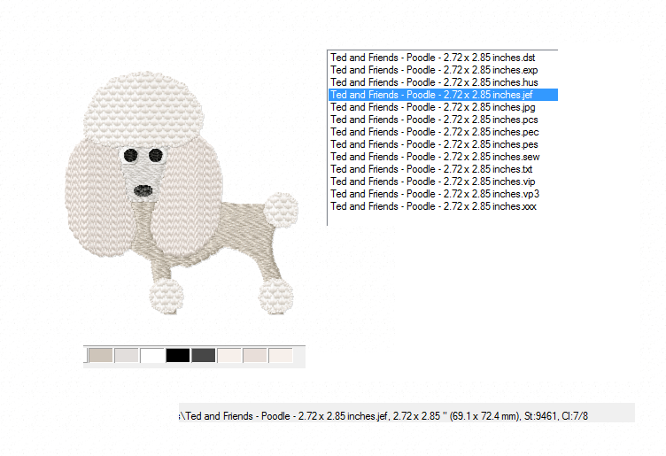 POODLE Embroidery Design in 2 sizes example image 2