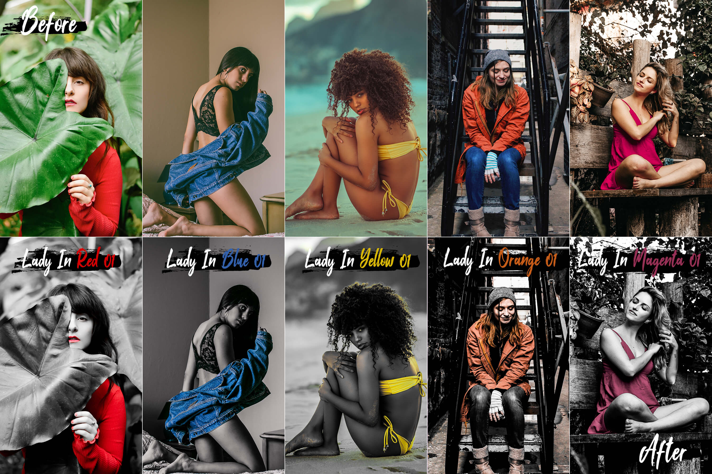 10 Lady In Color Photoshop Actions, ACR and LUT presets example image 7
