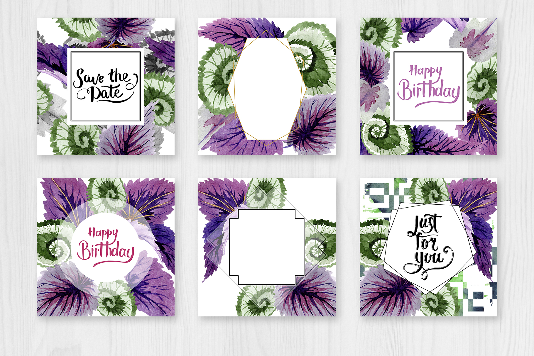 Decorative begonia purple watercolor png example image 3