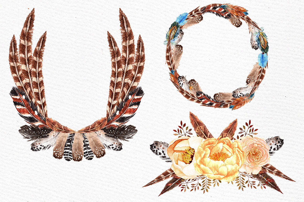 Watercolor feather wreaths clipart example image 2