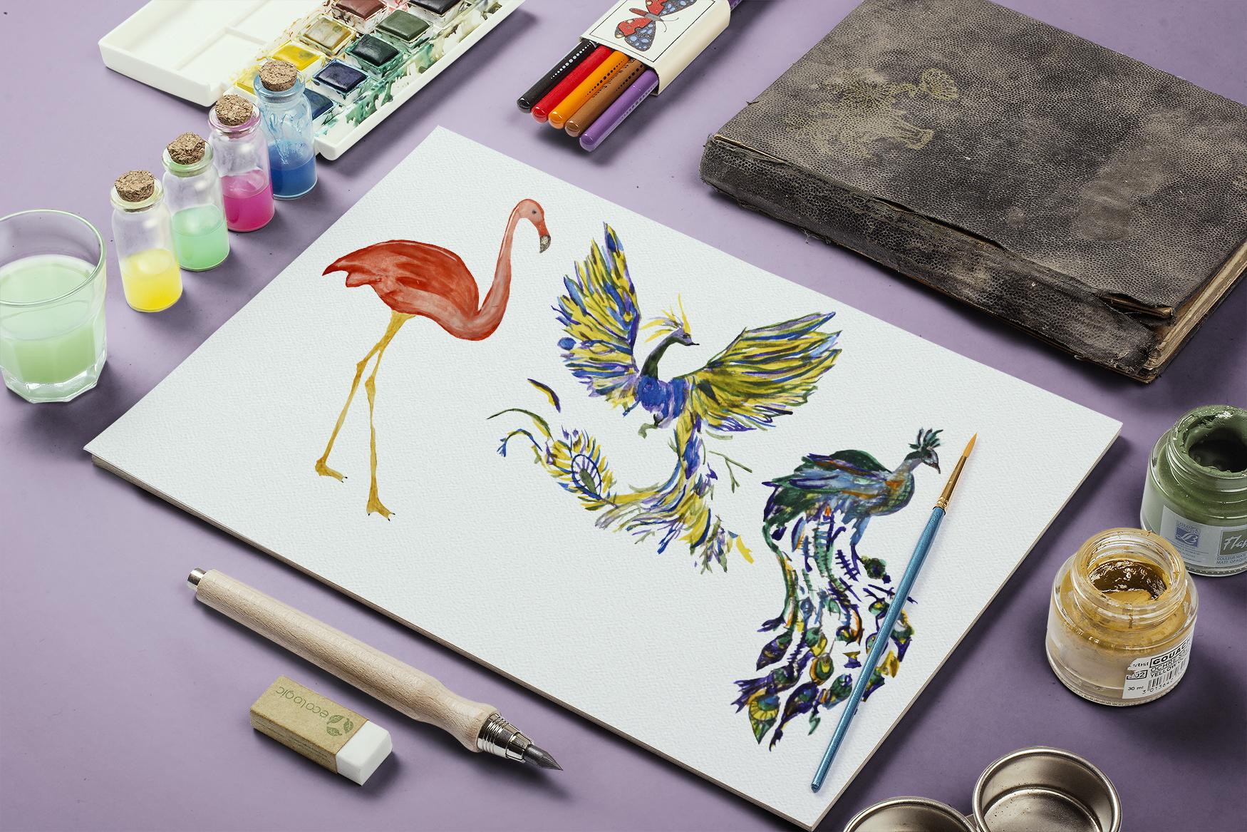 Watercolor birds set example image 5