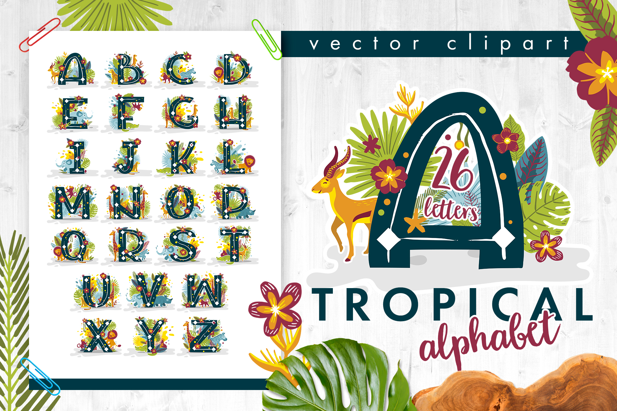 Tropical alphabet cartoon animals vector example image 1