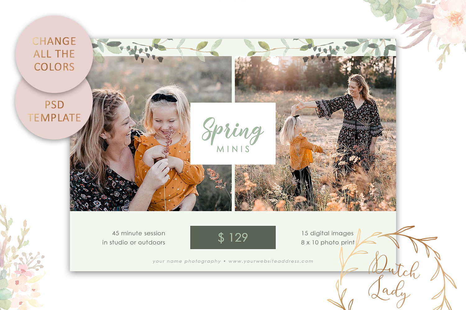 PSD Easter Photo Session Card Template - Design #50 example image 3