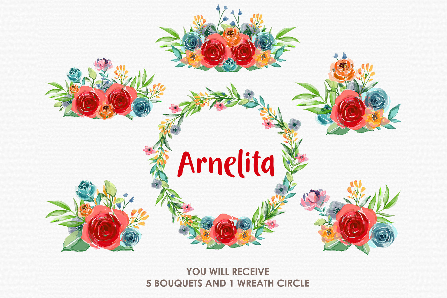 Arnelita - Digital Watercolor Floral Flower Style Clipart example image 3