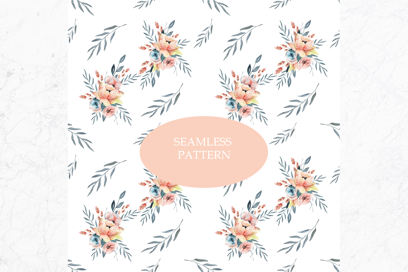 Spring Watercolor Collection, Summer coral and pink flowers example image 7