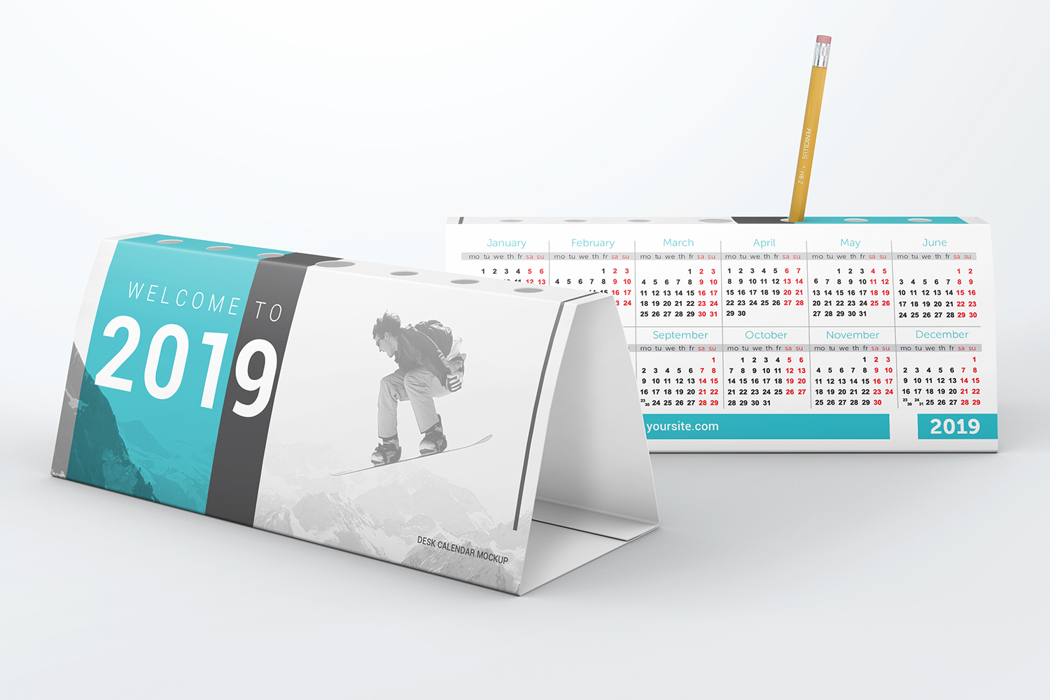Desk Calendar Pen Holder Mockup example image 4
