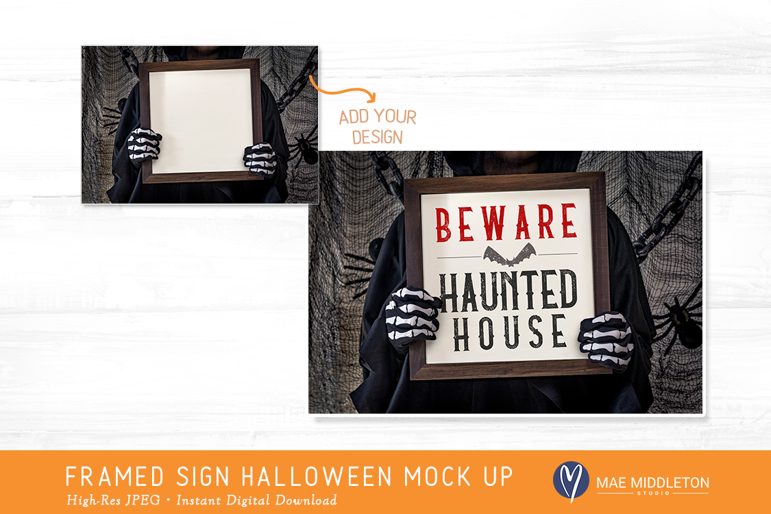 Framed Wooden Sign Mock up for Halloween example image 2