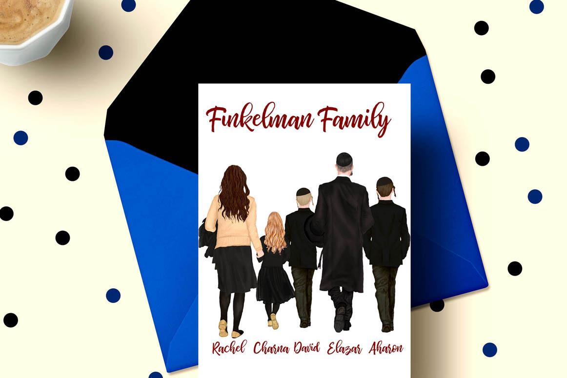 Family clipart, Jewish Family clipart, Yarmulkes clipart example image 2