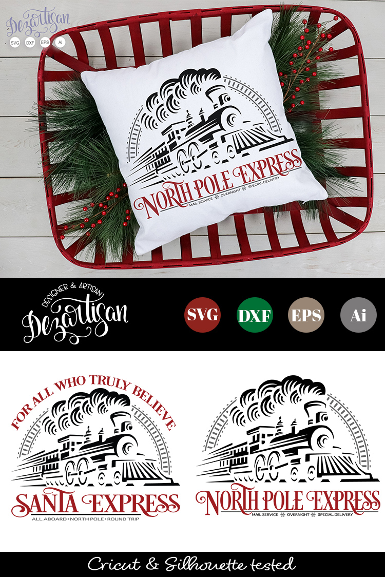 Santa Express North Pole Express Train SVG   DXF example image 2