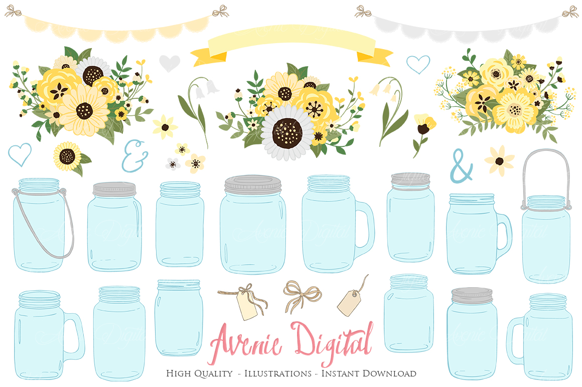 Yellow and Grey Mason Jar Floral Wedding Clipart example image 1