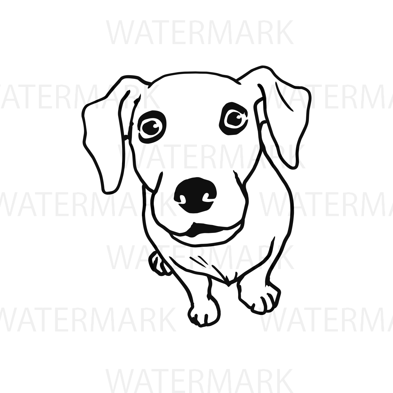 Cute Dogs D Outline - SVG/JPG/PNG Hand Drawing example image 1