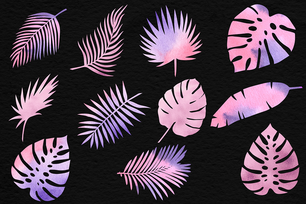 Rose Watercolor & Foil Palm Leaves example image 2