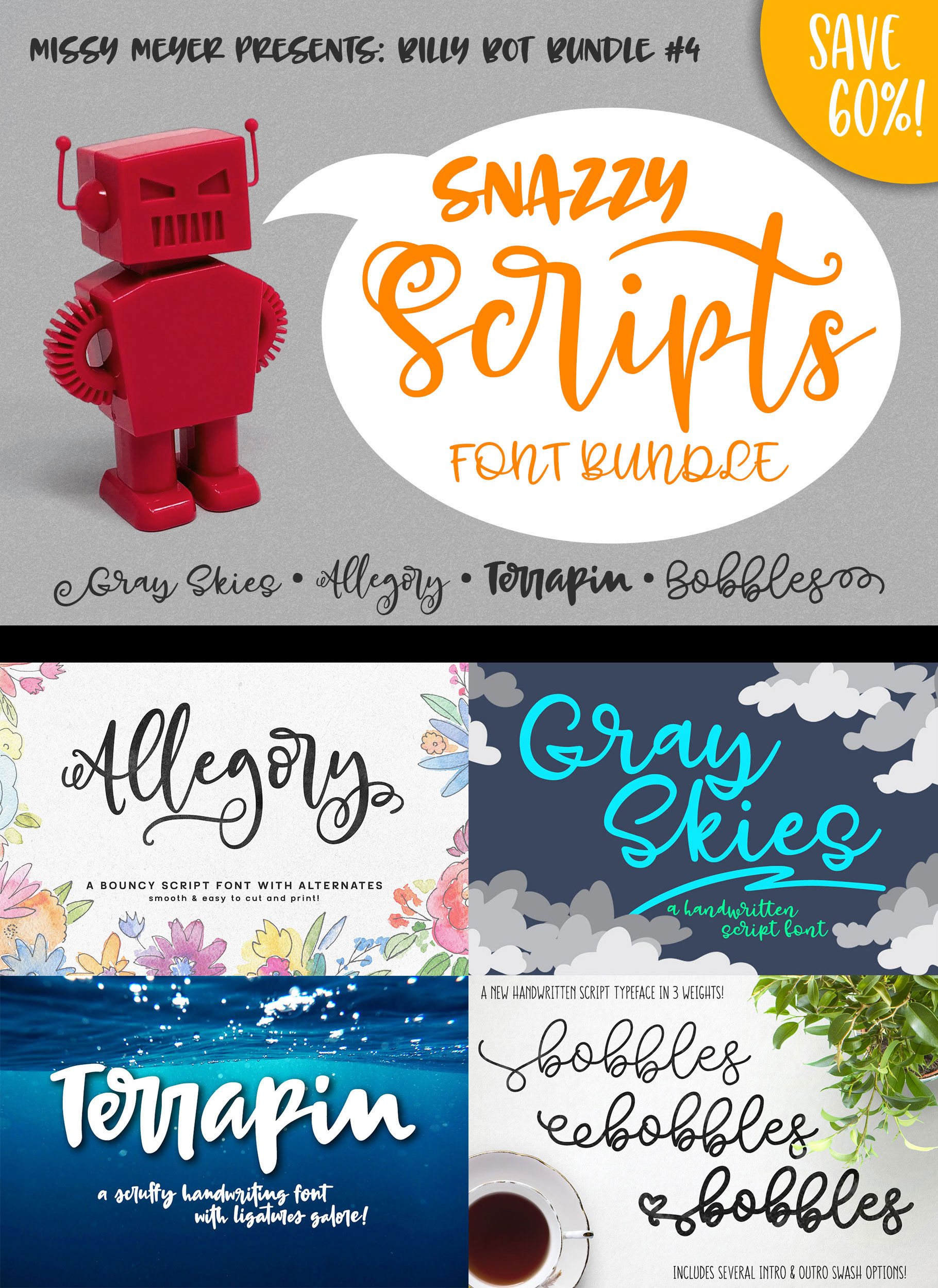 Billy Bot Bundle 4 - Snazzy Scripts Font Bundle! example image 7