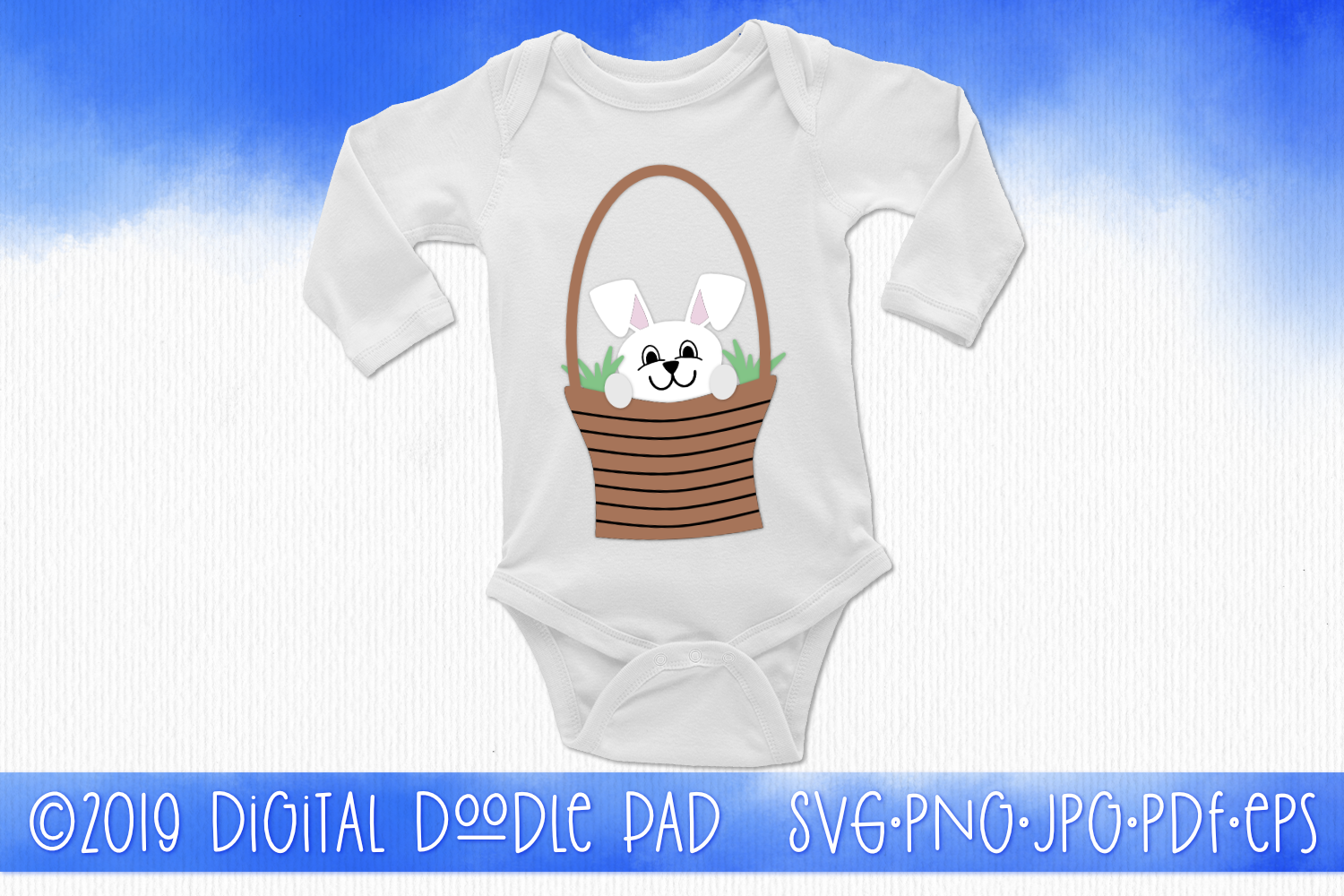Easter Bunny Rabbit In a Basket SVG example image 2