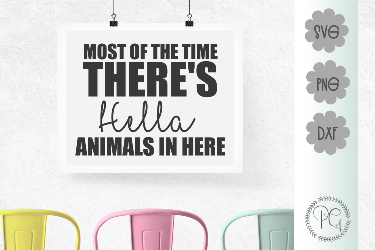 Hella Animals In Here SVG PNG JPG DXF example image 1