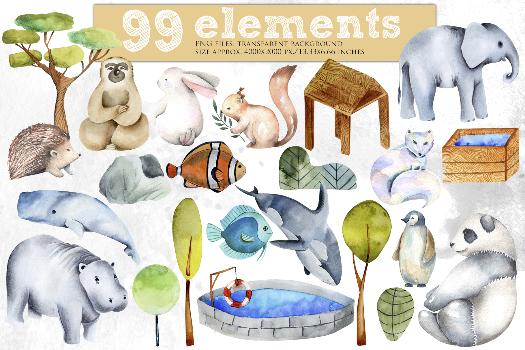Zoo. Big watercolor collection. example image 3