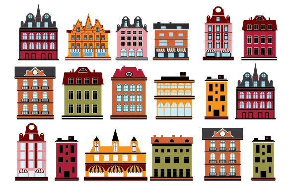 Houses flat vector illustration example image 1