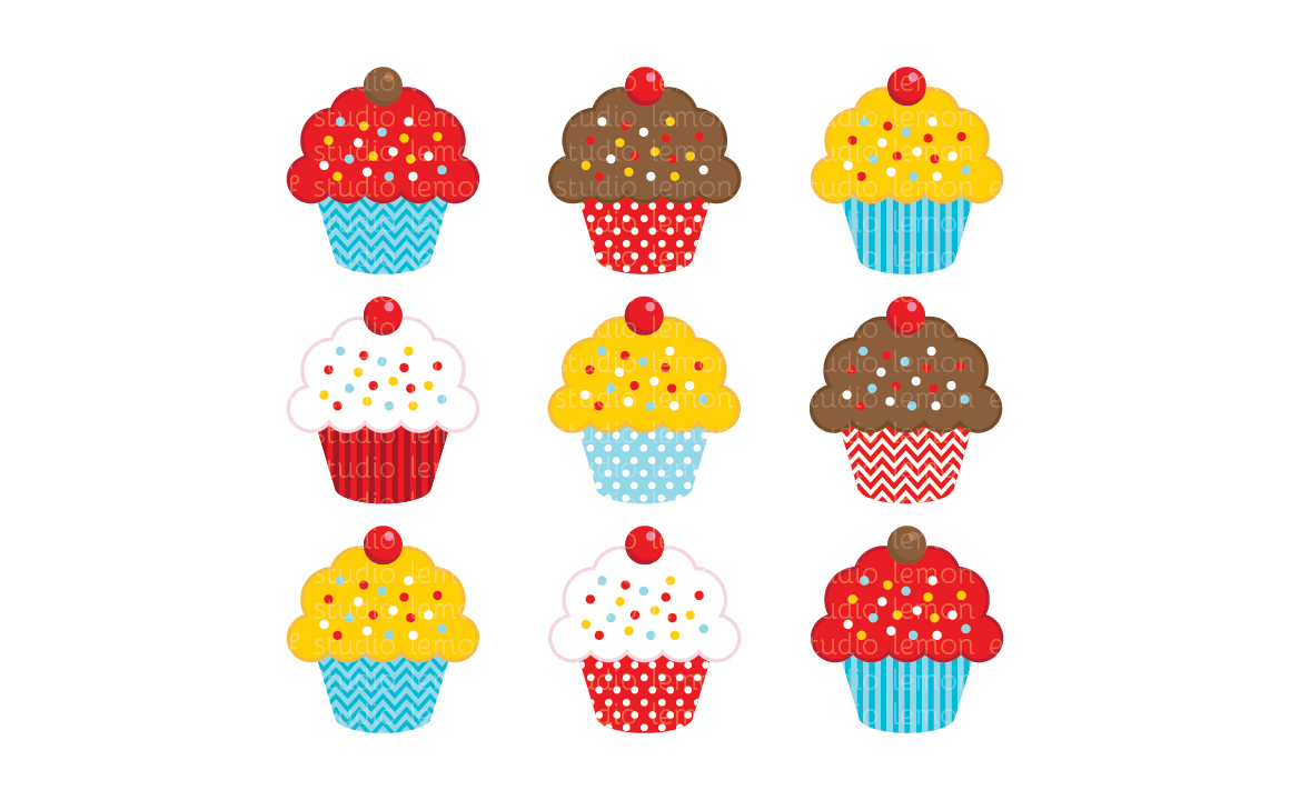 Sweet Cupcakes-Digital Clipart (LES.CL04A) example image 1