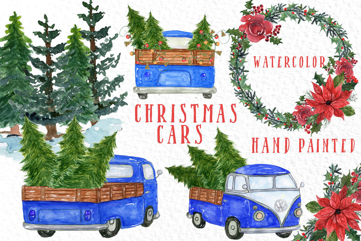 Watercolor Christmas Trucks clipart example image 1