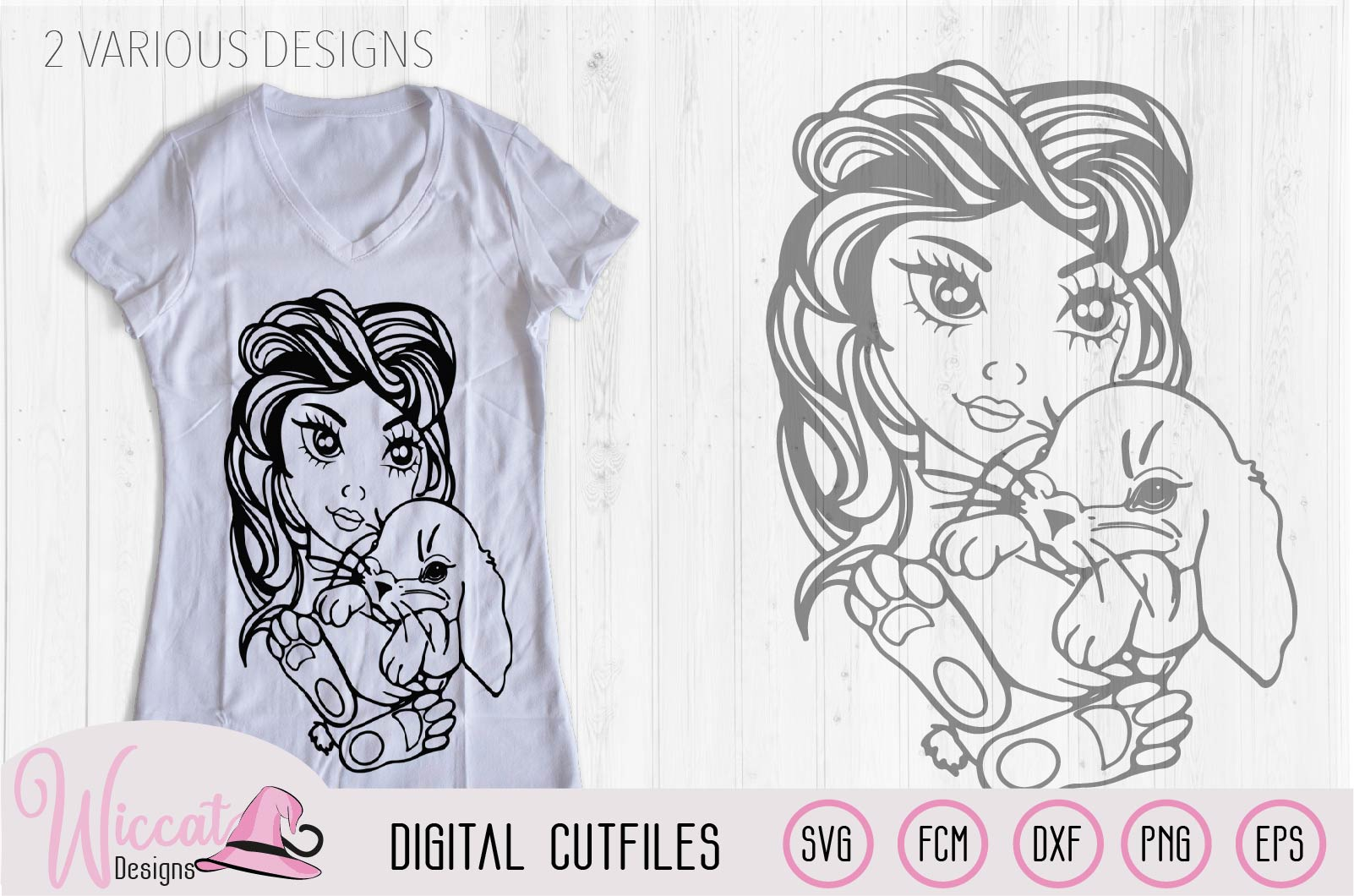 Girl with bunny svg, face svg, Line art svg, bunny svg, example image 2