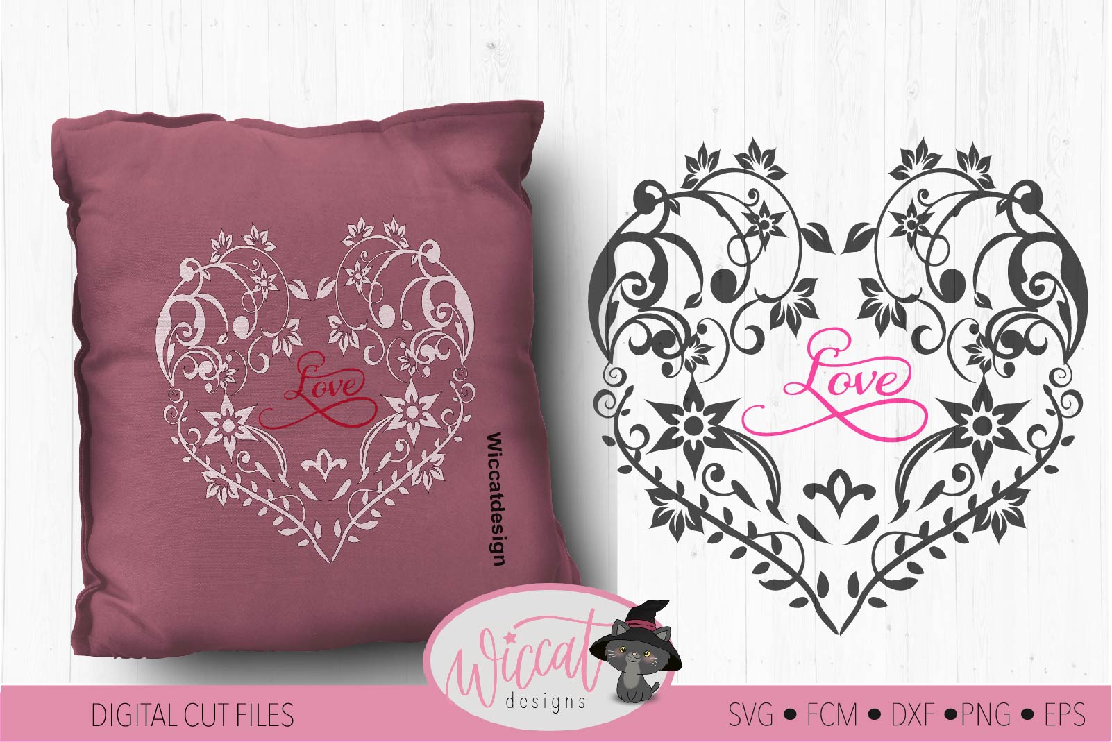 Flower heart svg, mothers day, lace cut file, glass block example image 1