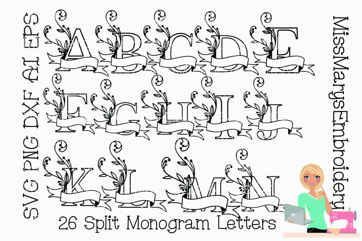 Split Monogram Letters SVG Cutting File PNG DXF AI EPS example image 2