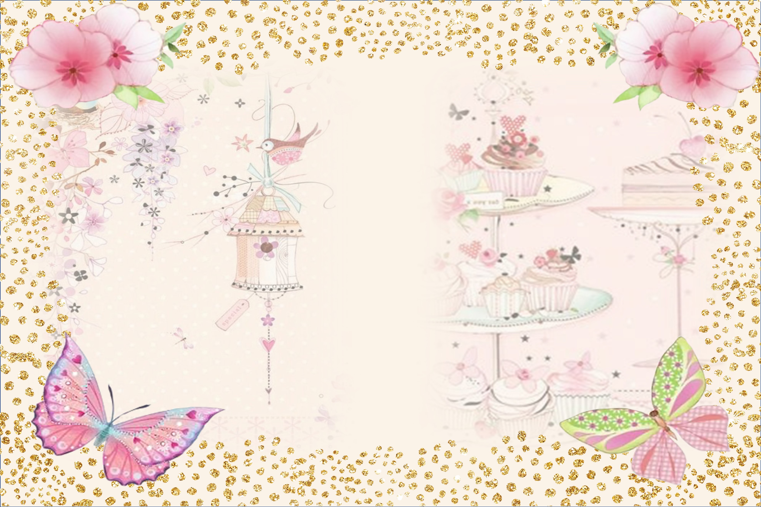 Country Springtime Watercolour Backgrounds, Ephemera &PNG example image 2