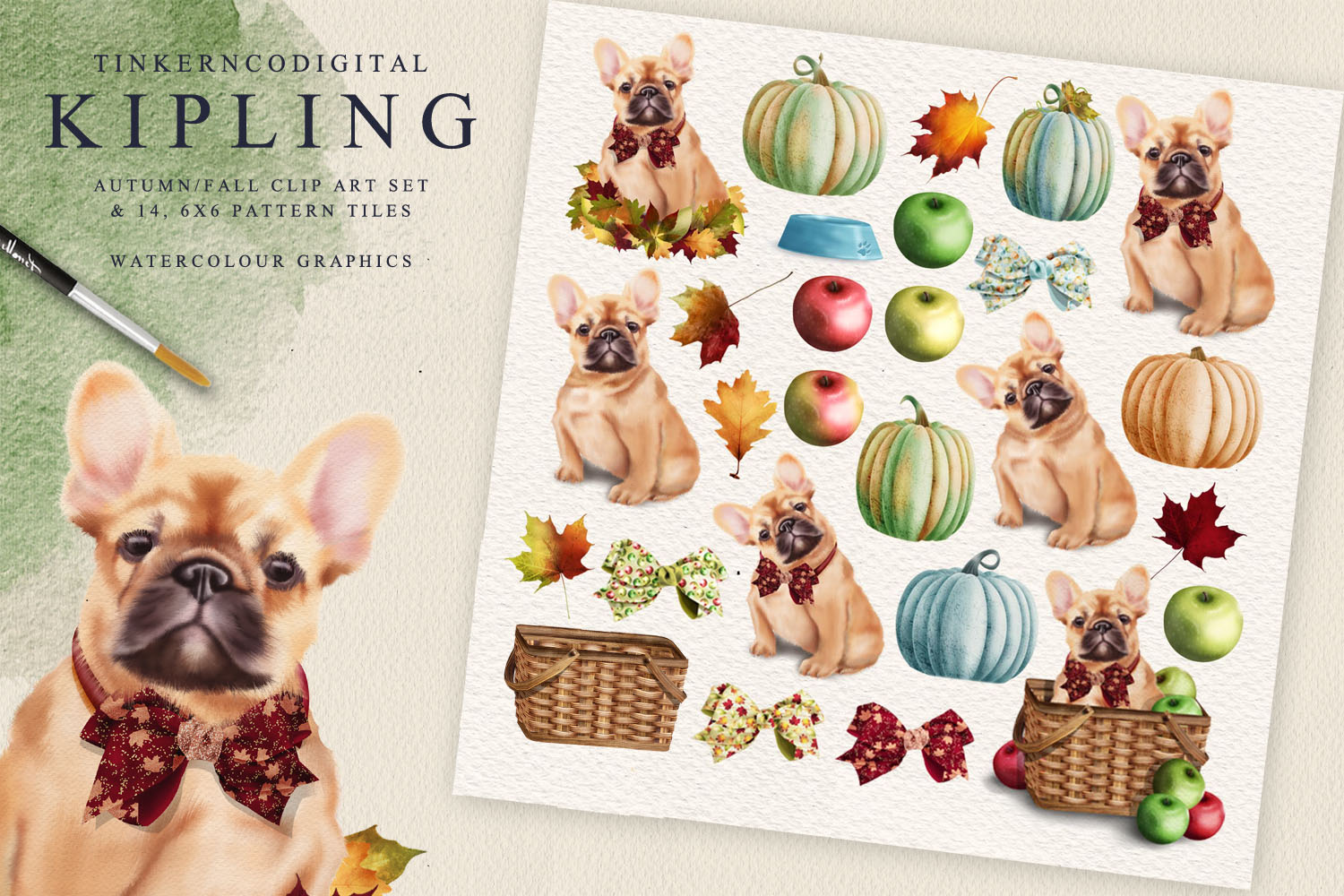 French Bulldog Clipart Pattern tiles example image 3