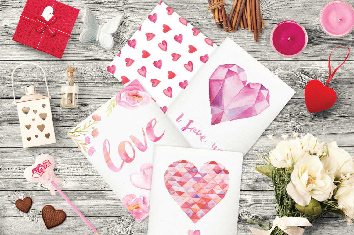 Watercolor Valentine's Day BUNDLE example image 7