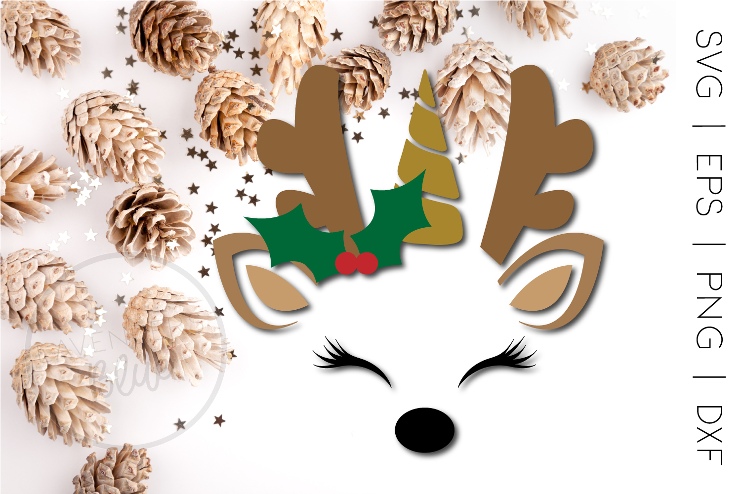 Christmas Unicorn Reindeer SVG | Cut Out | Commercial Use example image 1