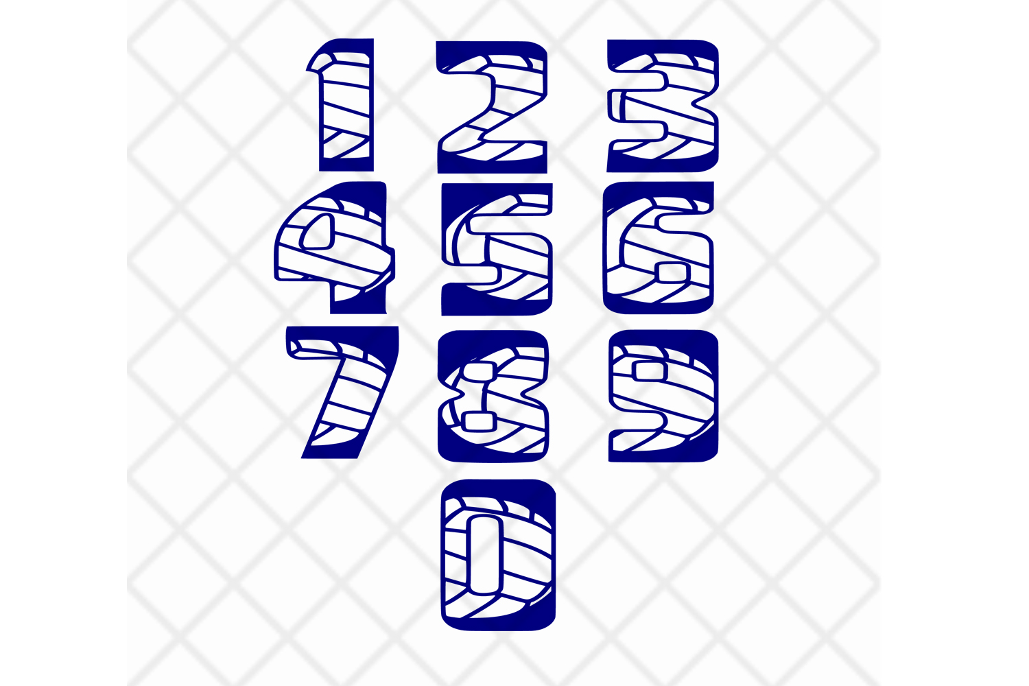 Volleyball numbers SVG DXF EPS example image 1
