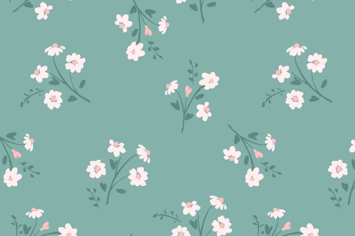 Cute flowers. 10 seamless patterns. example image 4