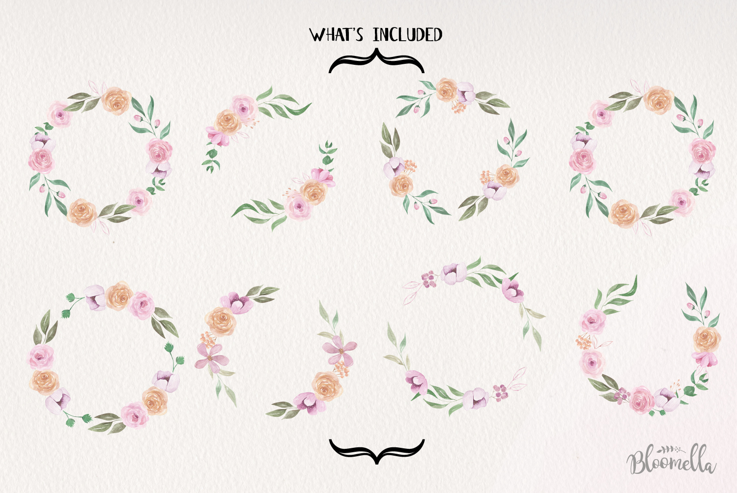 Fair Tale 8 Wreath Watercolor Pink Floral Garlands Peach example image 5