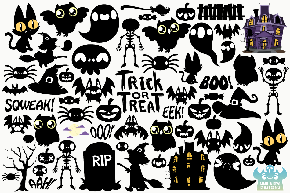 Halloween Silhouettes Clipart, Instant Download Vector Art example image 2