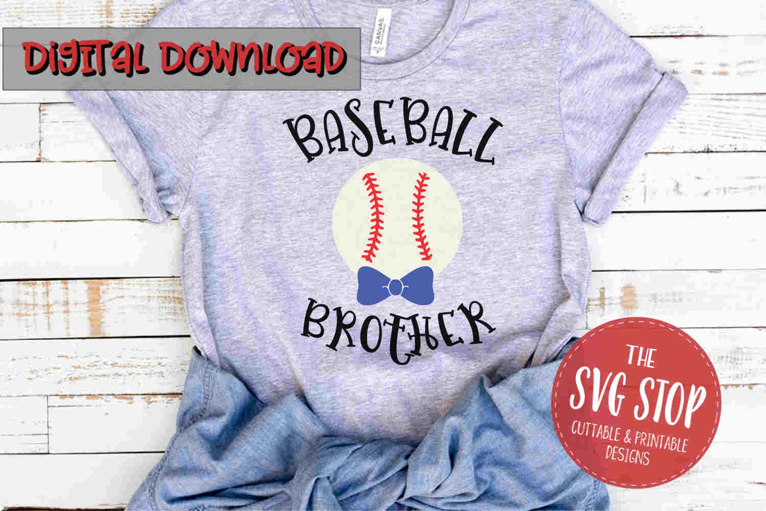 Baseball Brother with Bow-SVG, PNG, DXF example image 1
