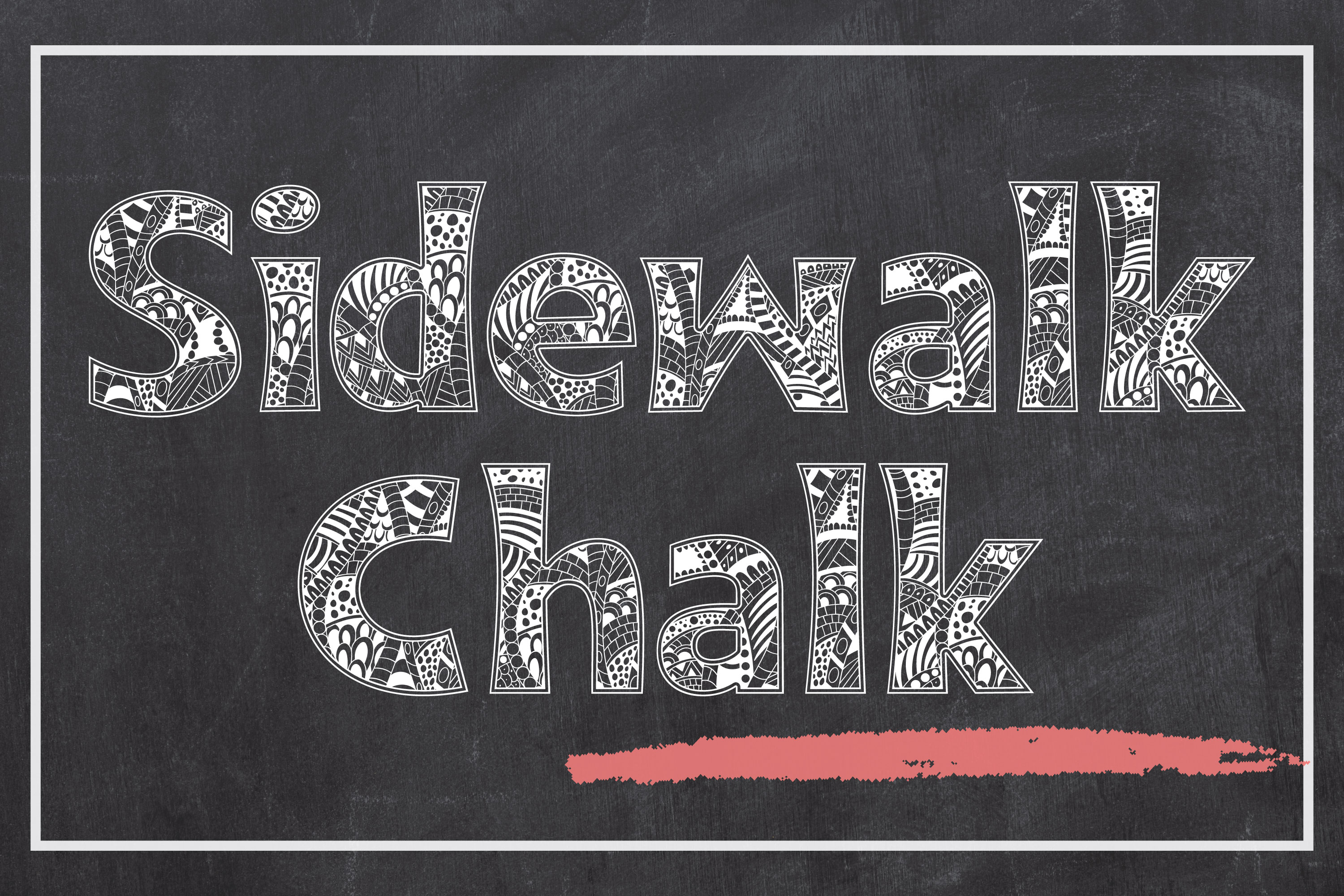 Sidewalk Chalk - a Zentangle Inspired Coloring Font example image 1