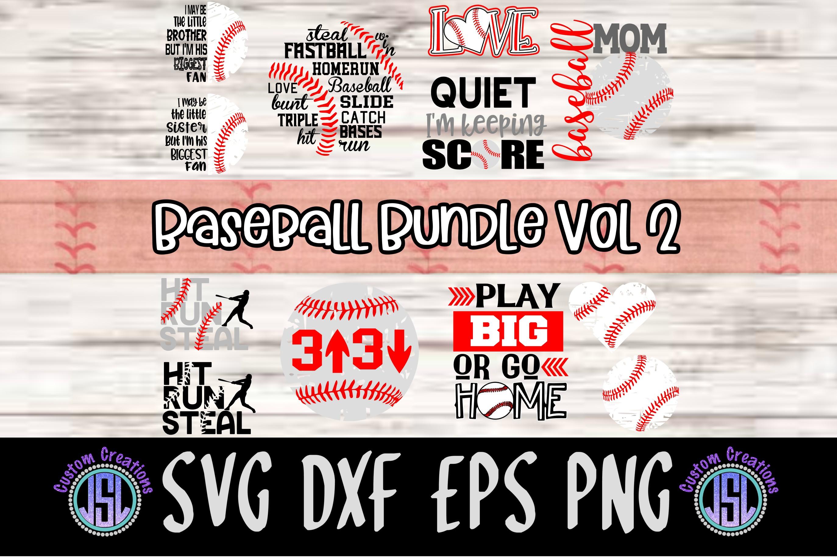 Baseball Bundle Vol 2   Set of 12   SVG DXF EPS PNG example image 1