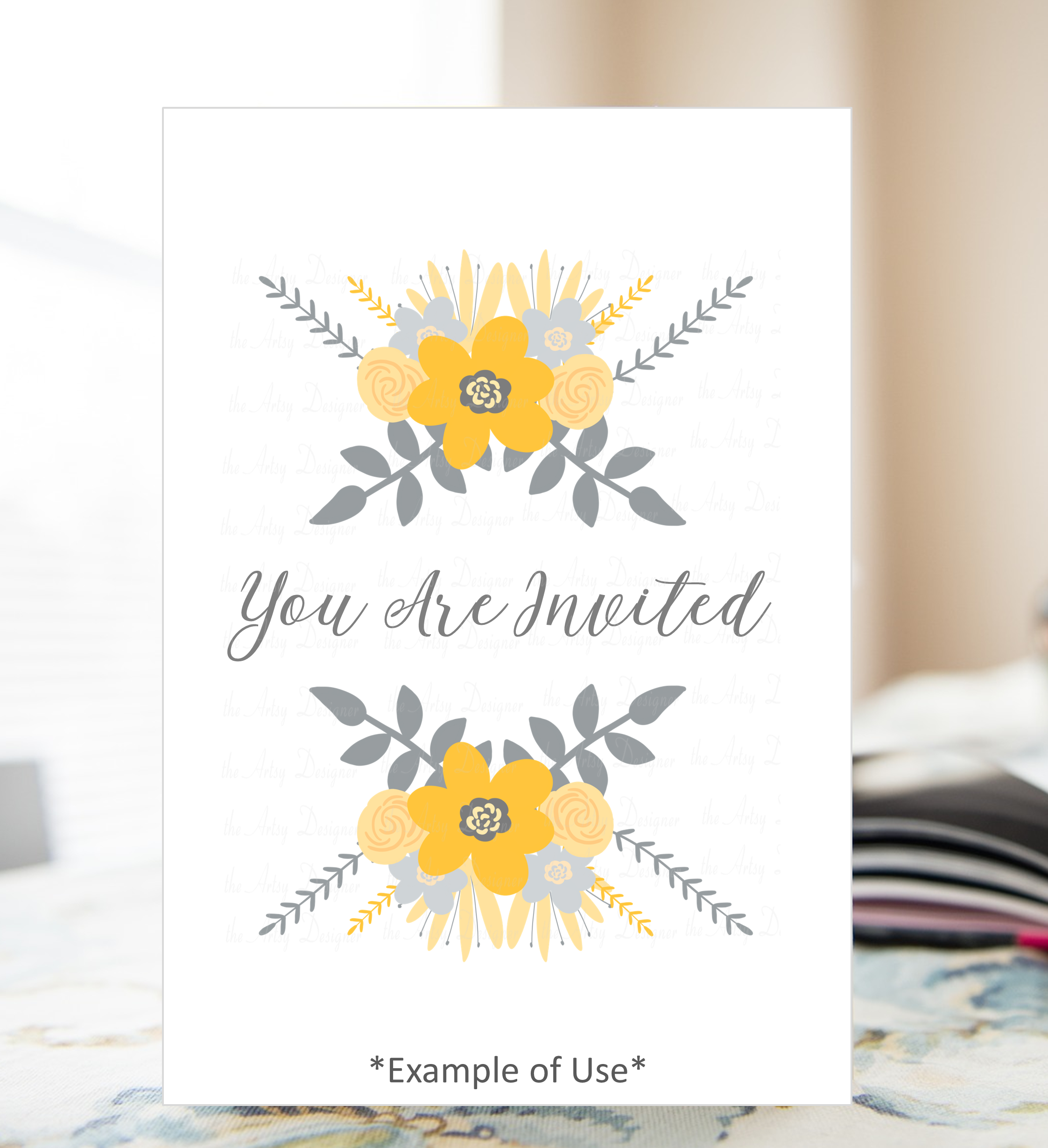 Yellow and Gray Flowers Botanical Sublimation Clipart Bundle example image 5